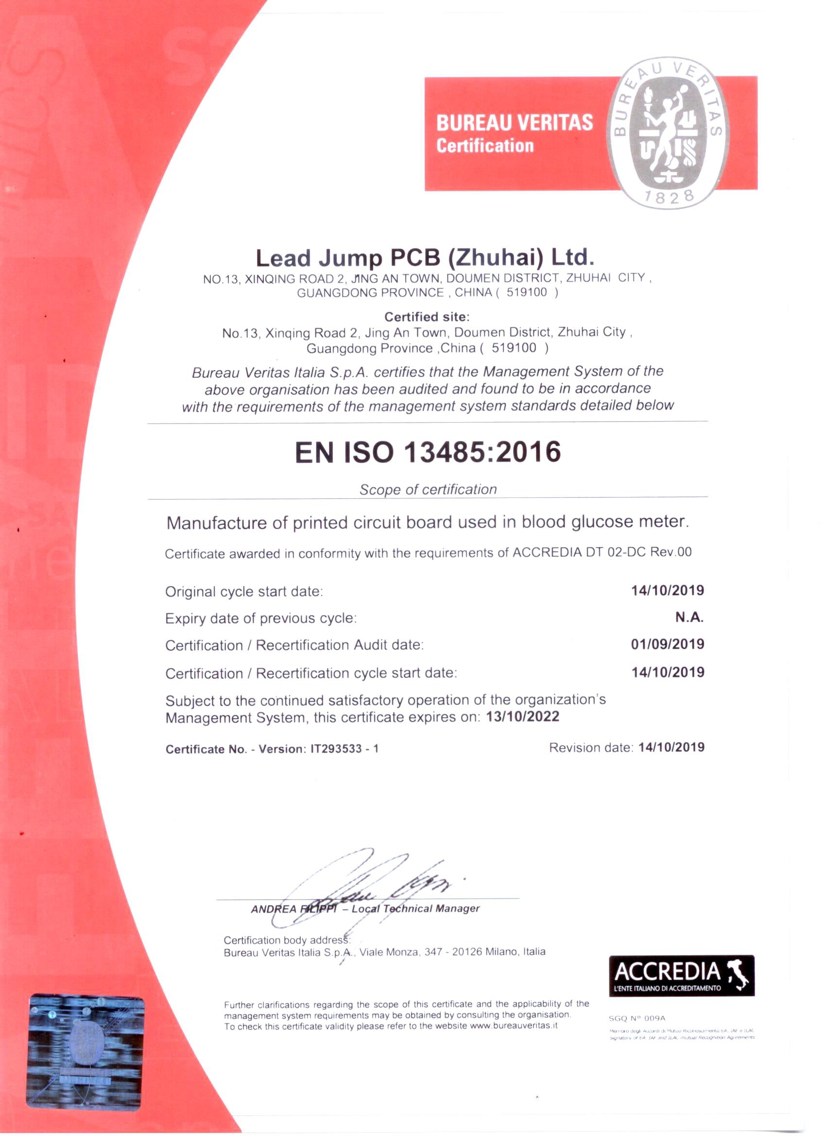 ISO13485 Certificate(2019.10.14-2022.10.13)