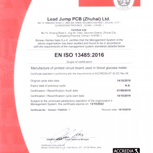 ISO13485 Certificate–Medical Device